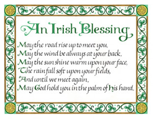 irish blessing, celtic knotwork calligraphy, may the road rise up to ...