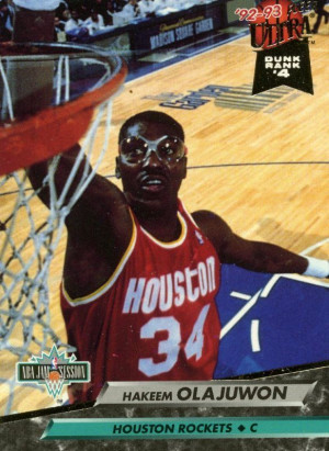 ... 92/93 FLEER ULTRA DUNK RANK #4 HAKEEM OLAJUWON HOUSTON ROCKETS MINT