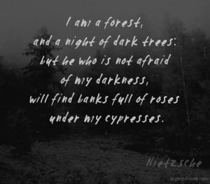 , and a night of dark trees: but he who is not afraid of my darkness ...