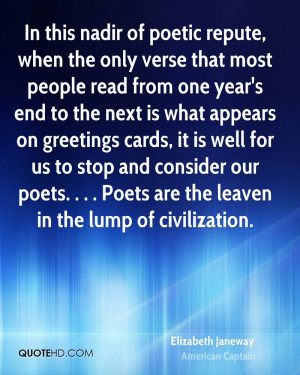 In this nadir of poetic repute, when the only verse that most people ...