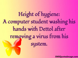 computer student washing his hands with Dettol after removing a ...