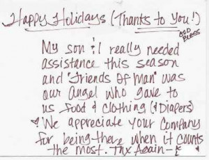 Quote from Letter: Happy Holidays (Thanks to you!) God Bless - My son ...