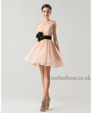 Short Blush Chiffon Bridesmaid Dress