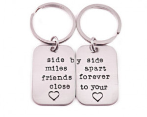 Friends Forever Key Chain Set of 2 - Hand Stamped Stainless Steel ...