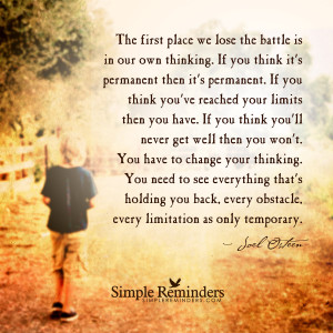 ... thinking by joel osteen the battle is in our own thinking by joel