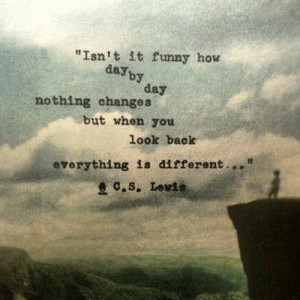 ... changes but when you look back everything is different. ~C.S. Lewis