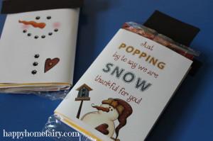 Snowman Popcorn Wrapper – FREE Printable