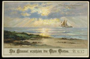 Bible quote on postcard, ship, sun, pre 1940