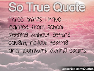 Three things I have learned from school: sleeping without getting ...