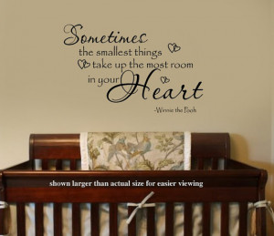 Sometimes the smallest Things Winnie the Pooh Quote Nursery VInyl Wall ...
