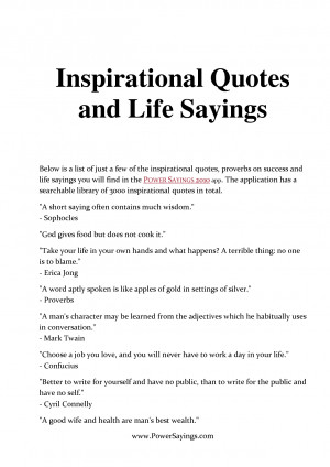 Inspirational Quotes and Life Sayings by PowerSayings