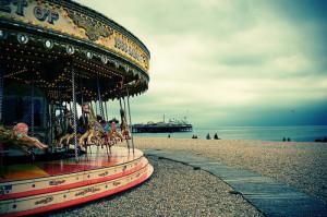 beach, brighton, carousel, cute, photography, pretty, sea