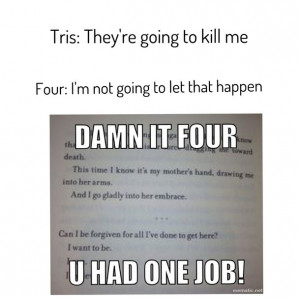 books, divergent, four, funny, funny quotes, lol, tris, theo james ...