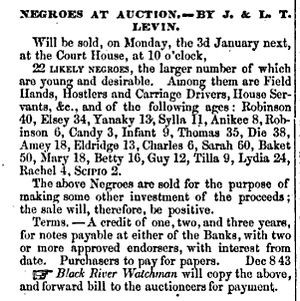 Advertisement for slave auction of slave trader Jacob Levin [ 124 ...