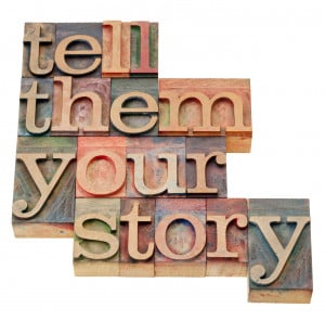 tell them your story – advice in isolated vintage wood letterpress ...