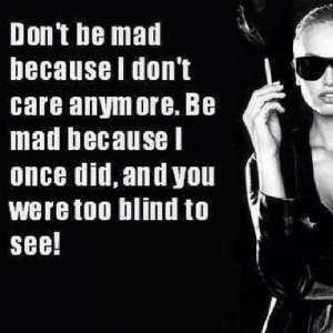 Don't be mad.