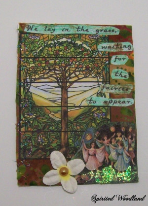 This fairy garden ATC / ACEO card features a hand sewn collage of ...