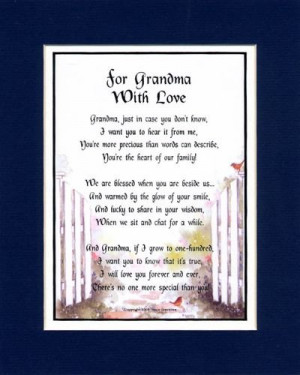 Gift For A Grandmother.Touching 8×10 Poem, Double-matted in Dark ...