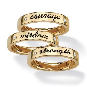 ... Jewelry 14k Gold-Plated Set of Three Inspirational Crystal Rings
