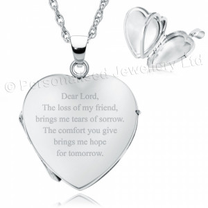 Loss of a Friend Heart Shaped Sterling Silver 4 Photo Locket (can be ...