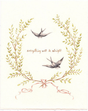 Illustration birds painting watercolor ribbon life quotes leaves ...