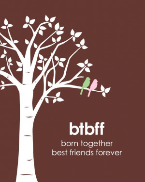 ... Born Together, Best Friends Forever - Love birds on Branch - invite