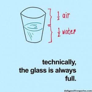 Half air, half water. Technically, the glass is always full.