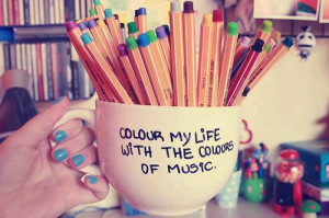color, colorful, girl, happy, life, music, nails, quotes