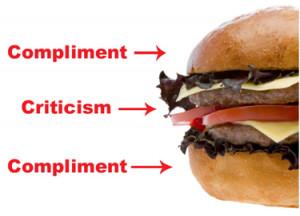 ... Criticism is like a hamburger – Compliment, Criticism, Compliment