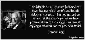 This [double helix] structure [of DNA] has novel features which are of ...
