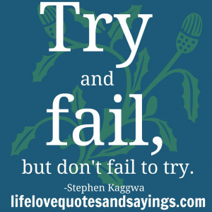 """Try and fail, but don't fail to try. """" Stephen Kaggwa"""