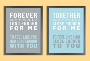 Quote Print 11x14 Set of two prints (song lyrics, poem, quote ...
