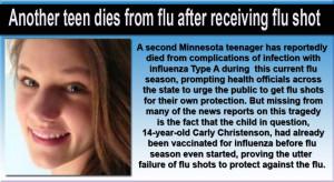 2013 Feb] Teen dies from flu after receiving flu shot