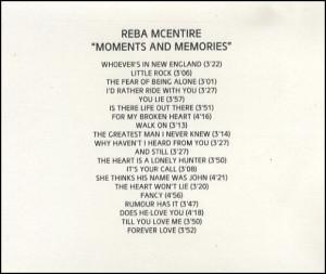 Reba McEntire,Moments & Memories,UK,Promo,Deleted,CD R(ECORDABLE ...
