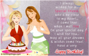 Birth day wishes for a special friend