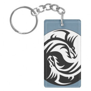 Tribal Dragons Yin Yang (Customizable) Keychain Features famous quote ...