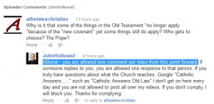 Atheist – you are allowed one comment per video from this point ...