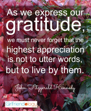 Thanksgiving quote JFK express gratitude