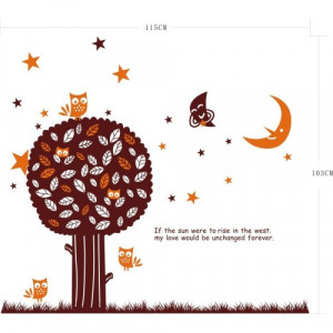 Tree Owls Moon Stars Grass Quote