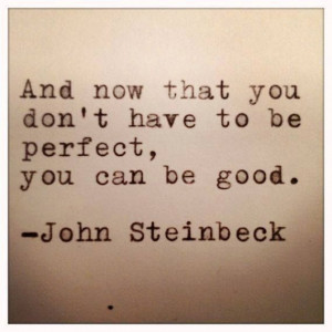 ... that you don't have to be perfect, you can be good. ~ John Steinbeck