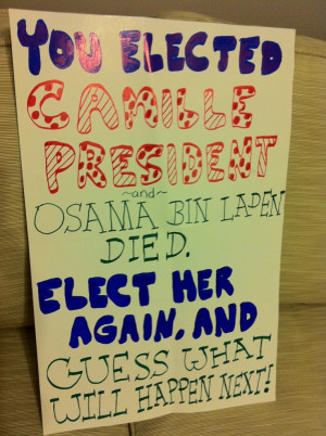 Lisa's 4th grade Vice President campaign posters and hand outs.