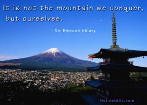 motivational picture of mountain in Japan with the quote: It is not ...
