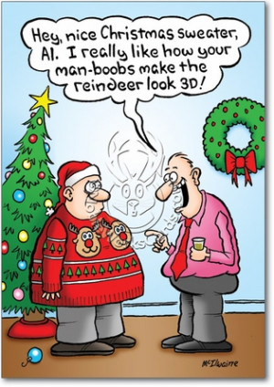 Man Boobs 3D Reindeer Funny Pic Christmas Paper Card Nobleworks