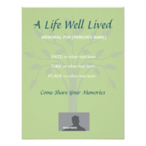 Memorial Celebration of Life Sage Green Personalized Invitation