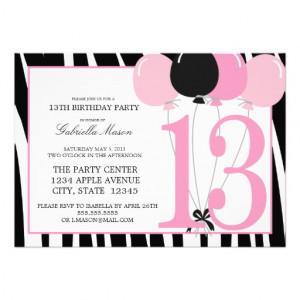 5x7 13th Birthday Party Invite at Zazzle.ca