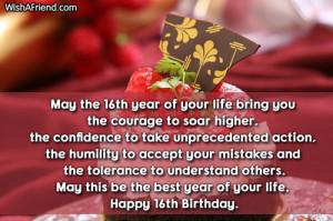 16th Birthday Wishes...