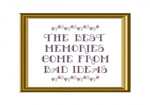 Funny Memories Quote Counted Cross Stitch Pattern PDF Instant Download