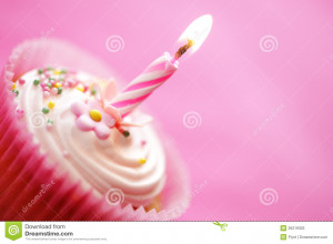 Birthday cupcake with burning candle.