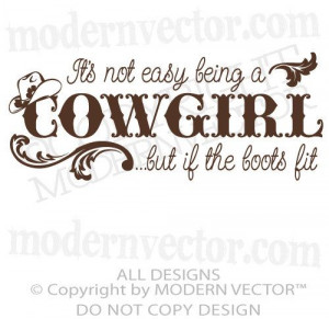 ts not easy being a Cowgirl Quote Vinyl Wall by ModernVector, $8.56