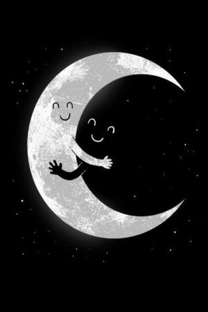 Cartoon Moon Hugs Dark iPhone 4 and iPhone 4S Wallpaper